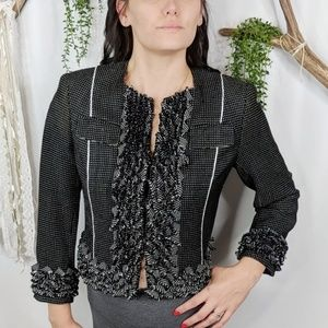 CARLISLE black Tweed ruffle box jacket 0830